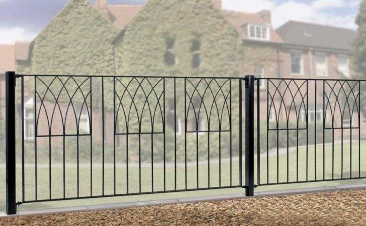 Abbey Modern Metal Garden Fence Panel Wide