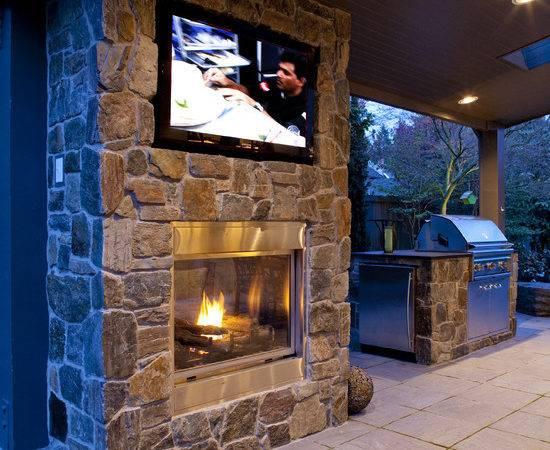 Above Fireplace Patio Design Ideas Remodel Decor