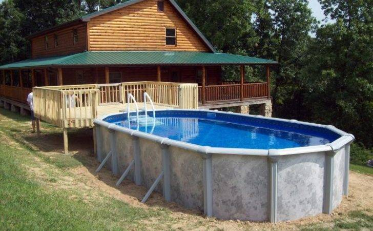 Above Ground Pool Deck Wooden Style Infinity Square Shape