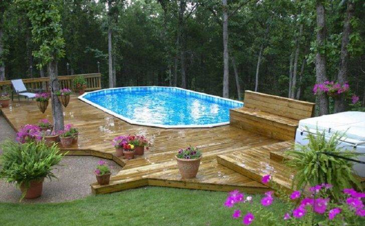 Above Ground Pool Landscaping Pin Pinterest