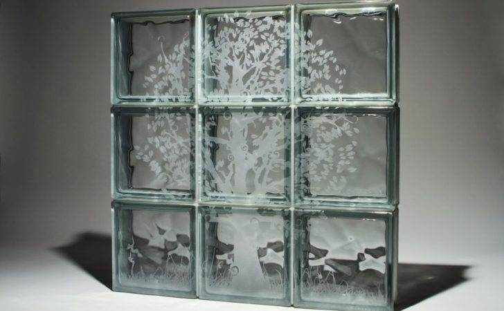 Add Style Etched Glass Blocks Window Shower Wall