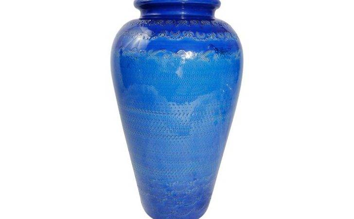 Adeeni Design Group Large Blue Glazed Terracotta Vase