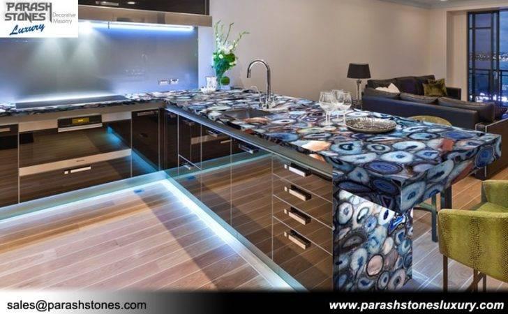 Agate Countertop Backlit Black Kitchen Blue