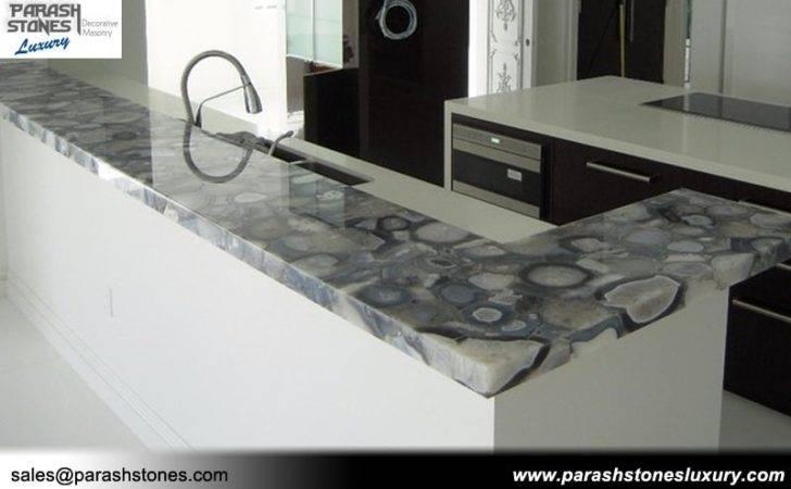 Agate Countertop Grey Backsplash Bathroom