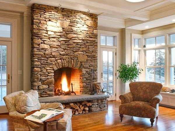 All Stone Veneer Fireplace Surround Ceiling Living