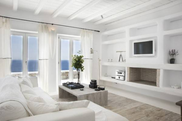 All White Beach Living Room Victorian Doric Ionic