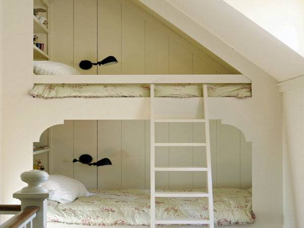 All White Traditional Bedroom Loft Bed Sloping Ceiling