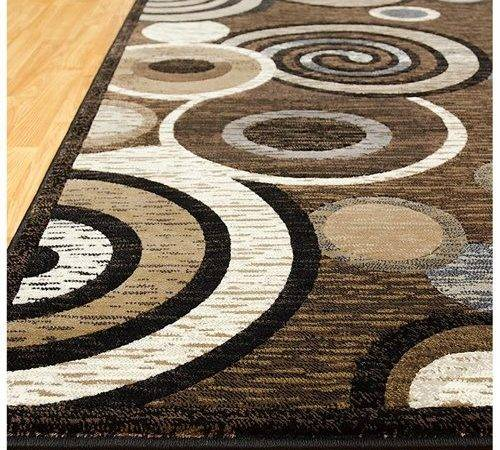 Allstar Rugs Chocolate High End Drop Stitch Woven Contemporary Circles