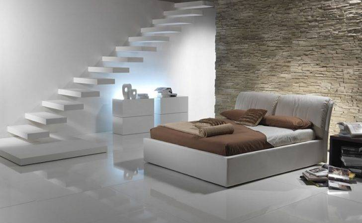 Amazing Floating Staircase Modern Italian Bedroom Furniture Stone Wall
