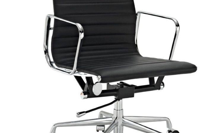 Amazon Ribbed Mid Back Office Chair Black Genuine Leather