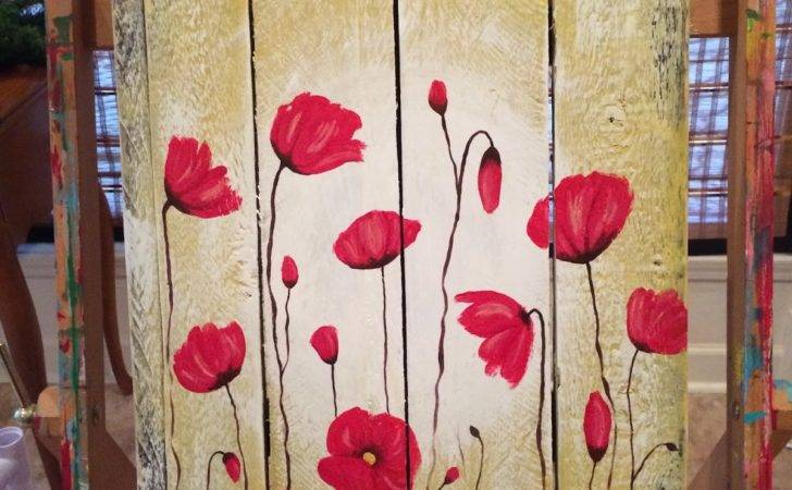 Amy Parker Art Poppy Flowers Pallet Wood Painting