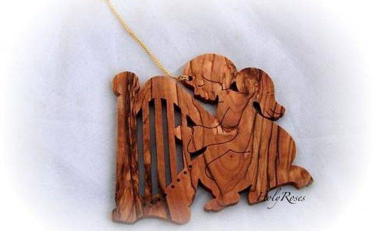 Angel Harp Olive Wood Christmas Tree Ornament Decoration Holyland