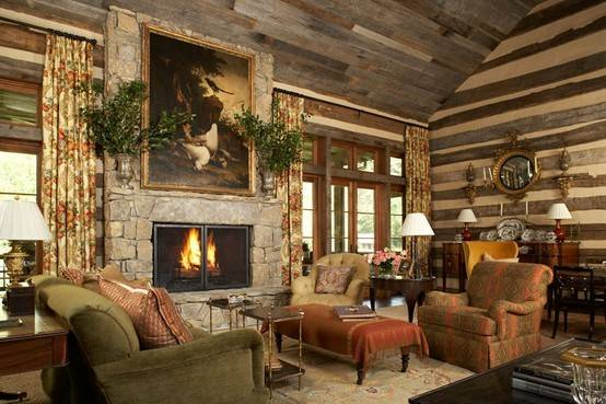 Another Elegant Log Interior Nothing Overly Rustic Lovely