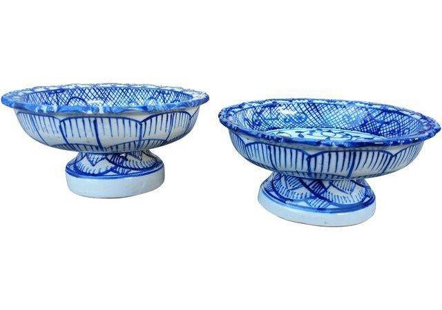 Antique Blue White Terracotta Bowls Pair Chairish