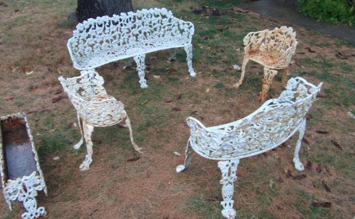 Antique Cast Iron Patio Furniture Benches Chairs Planter