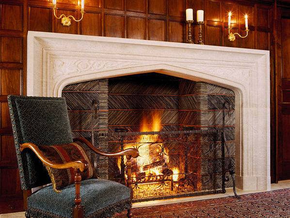 Antique Chair Large Fireplace Wood Panelled Wall