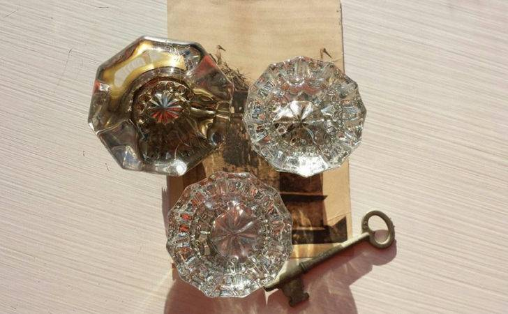 Antique Crystal Door Knobs Faceted Glass Handles