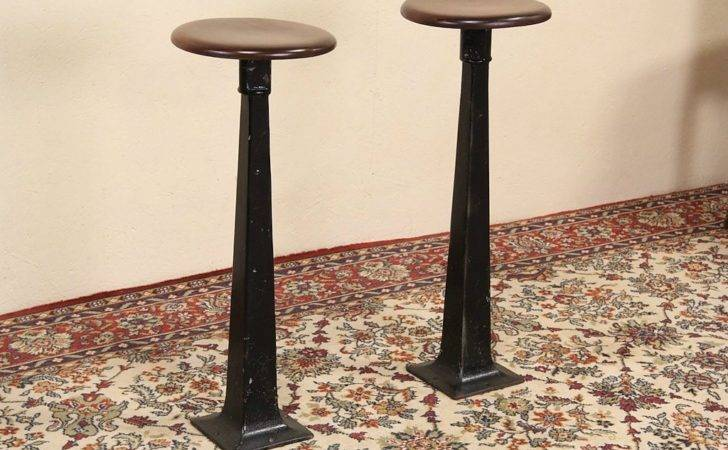 Antique Drug Store Soda Fountain Counter Stools Iron Bases