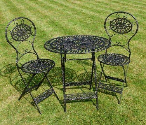 Antique Garden Furniture Wrought Iron Patio Set Table Chairs Black