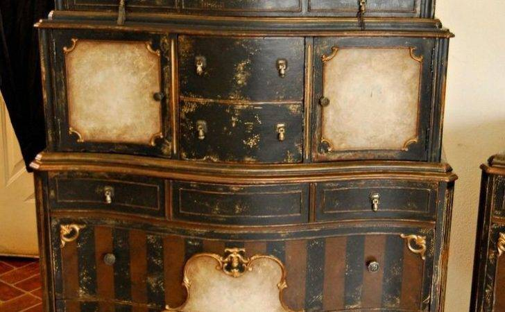 Antique Steampunk Shabby Distressed Painted Bedroom Suite Chic