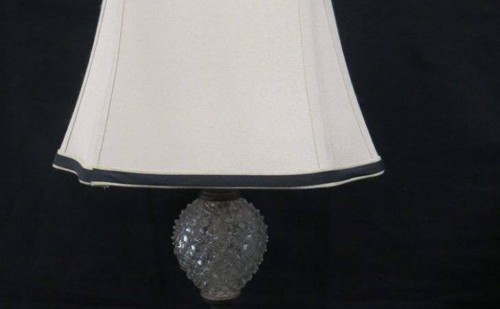 Antique Style Bubble Glass Double Bulb Table Lamp Iron Base Beige