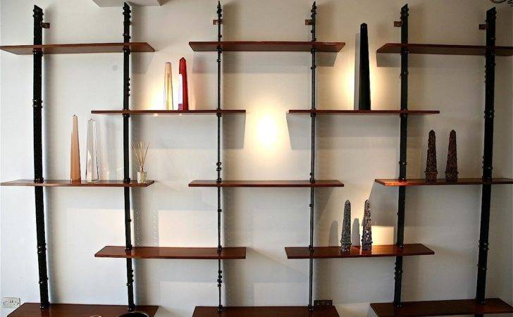 Antique Wall Mounted Shelves Design Idea Varnished Wood