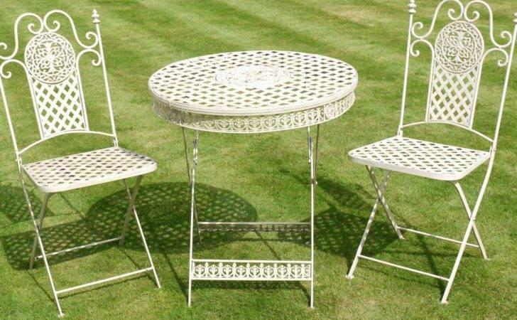 Antique White Wrought Iron Piece Bistro Style Garden Patio Furniture