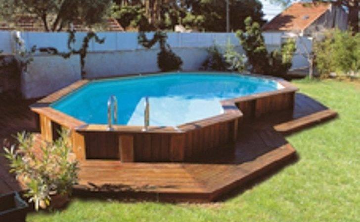 Appealing Above Ground Pools Decks Dark Wood