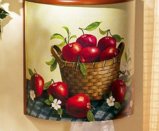 Apple Kitchen Decor Plastic Grocery Bag Wood Holder Organizer Storage