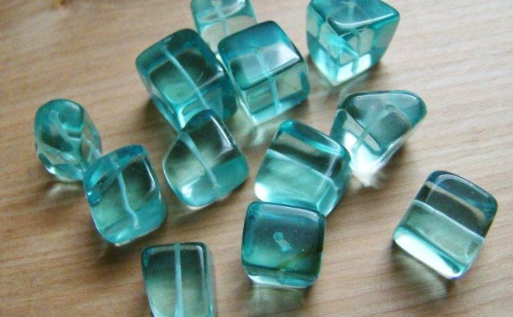 Aqua Blue Glass Cube Beads Medium Large