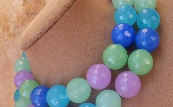 Aqua Blue Seafoam Green Purple Quartz Faceted Double