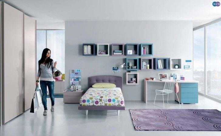 Aqua Lavender White Contemporary Teenagers Room