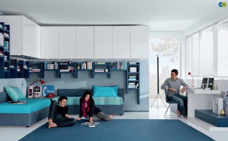 Aqua White Contemporary Teenagers Room