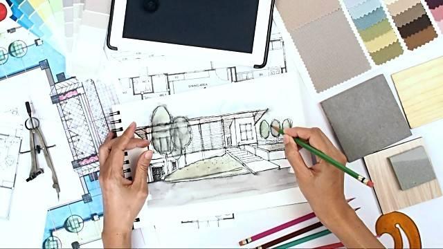 Architect Interior Designer Working Worktable