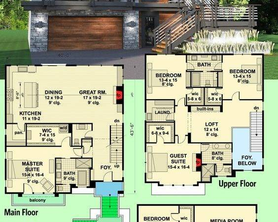 Architectural Designs Modern House Plan Gives Beds