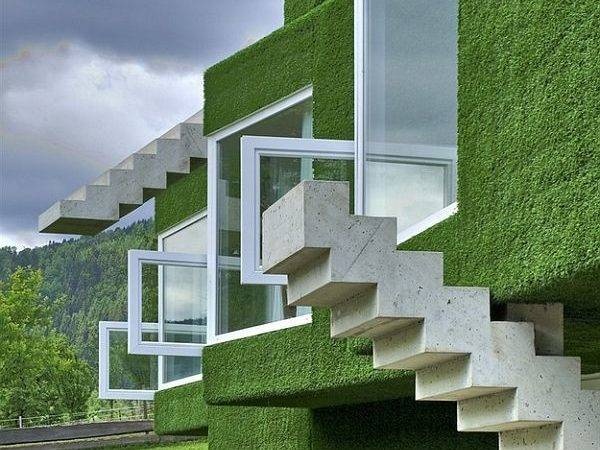 Architecture Home Green Coated Cubic Interior Design