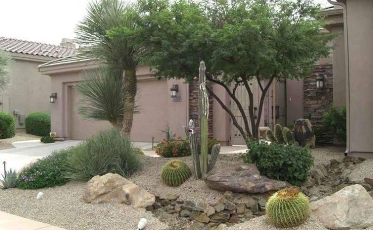 Arizona Desert Front Yard Xeriscaping Idea Fake Dry Stream Bed