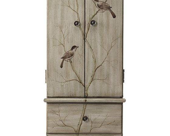 Armoires Painted Birds Hands Storage Dressers Home Jewelry Armoire