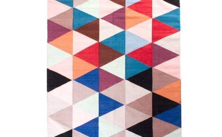 Arro Home Cotton Multi Colour Woven Rug Triangle Design