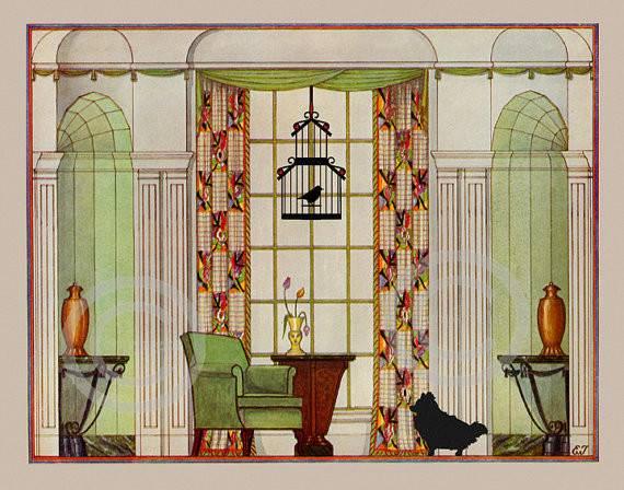 Art Deco Furniture Print Interior Design Elegant Living Room