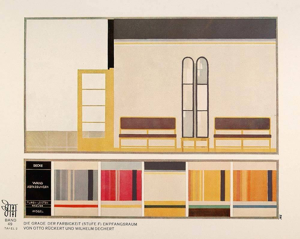 Art Deco Interior Design Room Color Palette Print Original