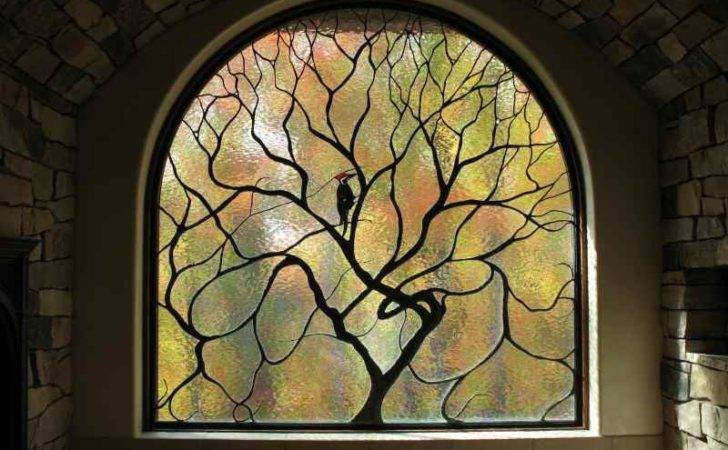 Art Nouveau Stained Glass Tree Bird Cain All