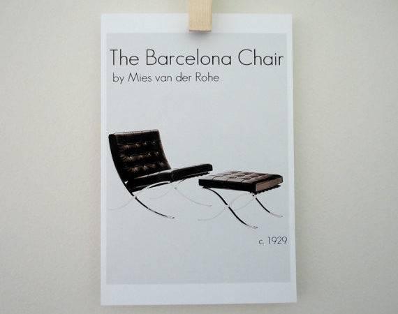Art Print Barcelona Chair Ludwig Mies Van Der Rohe Mod Retro