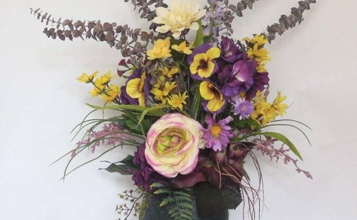Artificial Silk Flower Arrangement Yellow Purple Mixed Metal