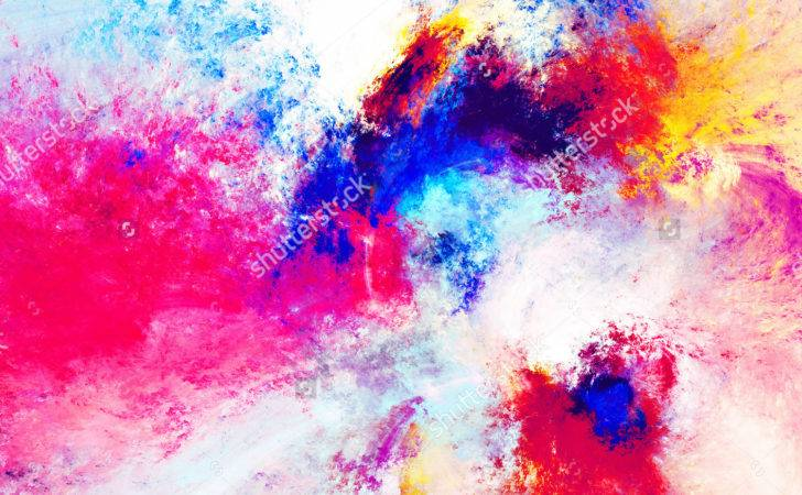 Artistic Splashes Bright Paints Abstract Color Pattern Modern