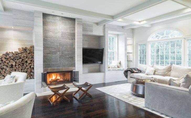 Ash Limestone Walls Lend Texture Relaxing Living Room Design