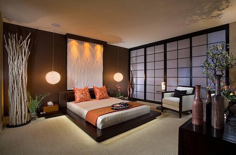 Asian Style Bedroom Platform Bed Pendant Lights