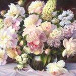 Assorted Glass Painting Table Cloth Roses Vase Flower
