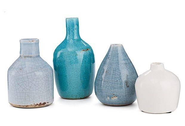 Asst Terracotta Vases Blue