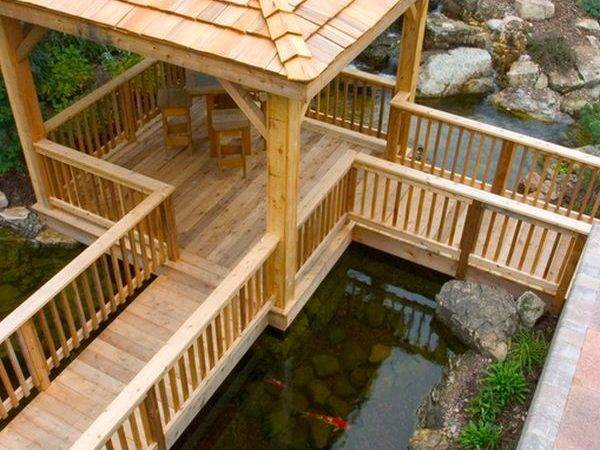 Awesome Deck Space Right Above Koi Pond Offers Great Visuals